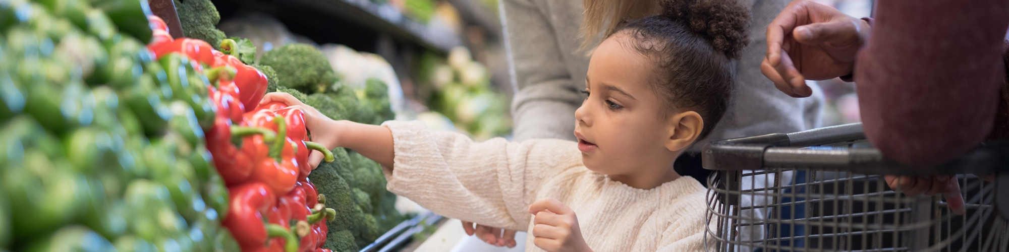 child picking out healthy food